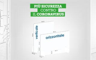 dispositivi di prevenzione coronavirus per farmacie e negozi: parafiato in plexiglass e dispenser igienizzante mani